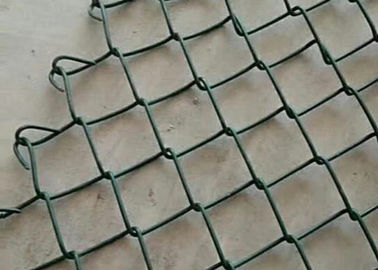 China Metal Green Coated Chain Link Fence Construction 4mm And 5cm Size supplier