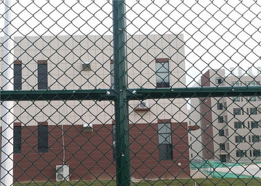 China 6 x 12 FT Green Chain Link Fence For Sports Court 4.0 MM Diamond Mesh Fence supplier