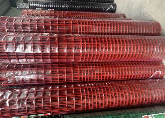 China 2.2 MM Red Color PVC Coated Welded Wire Mesh 1'' X 1'' Hole Q195 Material supplier