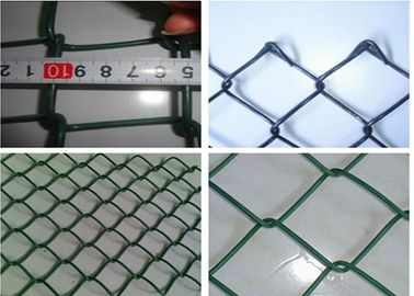 China Plain Woven Green Coated Chain Link Fence , Stadium Custom Colors Acid Resistant Fence factory