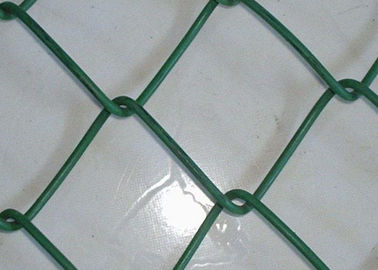 Plastic Coated Chain Link Fence Diamond Wire Mesh Woven For School Sports