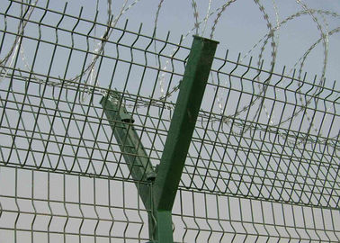 Plastic Coating Iron Wire Mesh Fence With Razor Barb For Airport