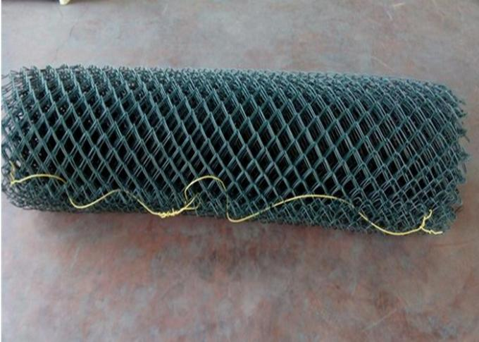 Green Galvanized Steel Wire Chain Link Fence 4.5mm Plain Woven For Protection