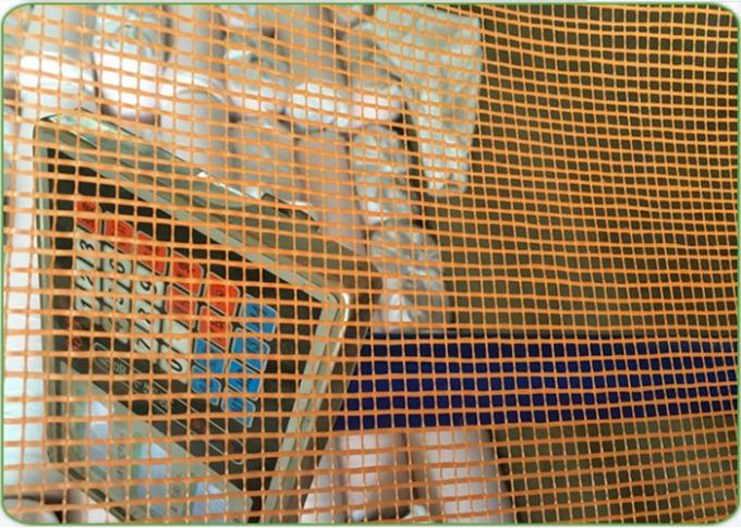 10mm * 10mm  * 130g / ㎡ Orange Color Fiberglass Mesh Emulsion Leno Type Suitable For Tunisia
