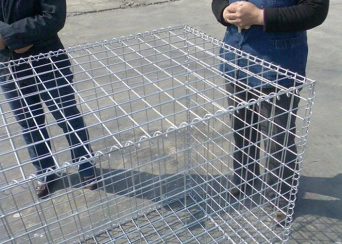 Square Shape Galvanized Welded Mesh Gabions / Hesico Barrier Hole Size 50x100mm