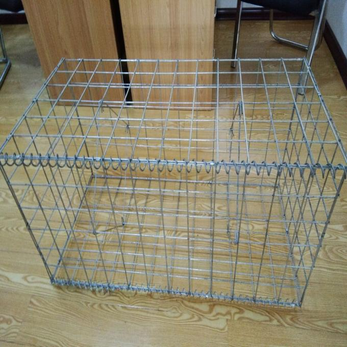 Square / Oblong Hole Galvanized Gabion Box , Welded Gabion Wall Cages 1 X 1 X 1 M