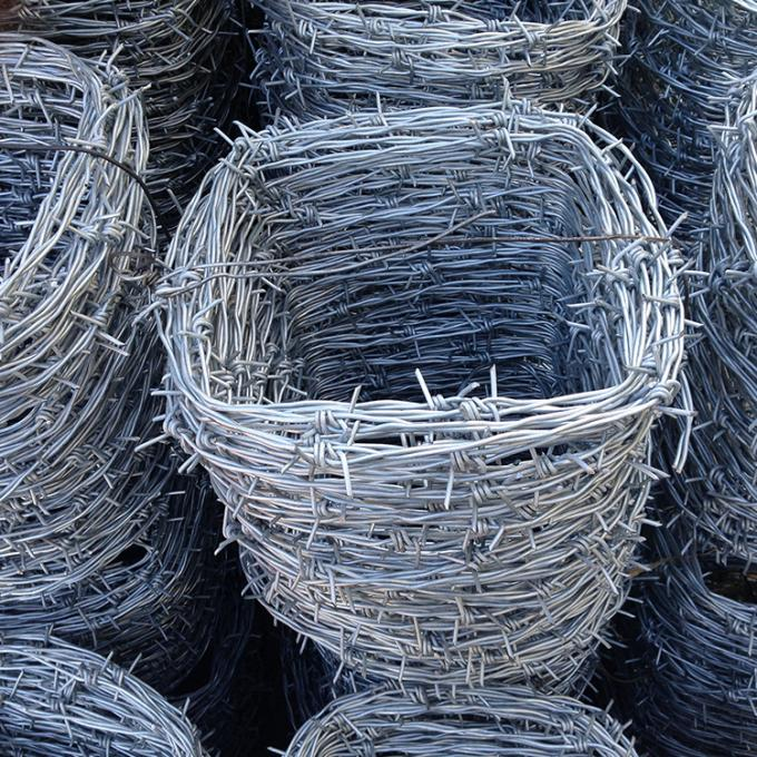 4 Point Twisted Electric Galvanized Barbed Wire For Farmland 1.5cm -3cm Barb Length